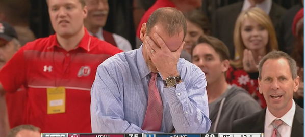 Coach K facepalm