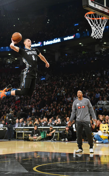 Feb 13, 2016; Toronto, Ontario, Canada; Minnesota Timberwolves guard Zach LaVine competes in the dunk contest during the NBA All Star Saturday Night at Air Canada Centre. Mandatory Credit: Bob Donnan-USA TODAY Sports